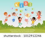 group of kids with happy faces. ... | Shutterstock .eps vector #1012912246
