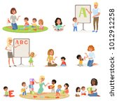 set of children doing speech... | Shutterstock .eps vector #1012912258