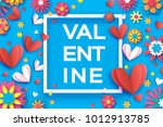 valentines day floral greetings ... | Shutterstock .eps vector #1012913785