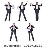 businesswoman with clock in... | Shutterstock . vector #1012918282