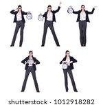 businesswoman with clock in... | Shutterstock . vector #1012918282