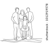 sketch family on white... | Shutterstock .eps vector #1012919578