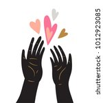 hand drawn human palms with... | Shutterstock .eps vector #1012923085