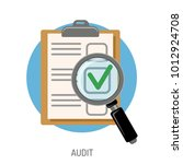 audit and test flat icon set... | Shutterstock .eps vector #1012924708