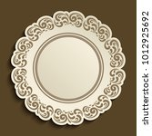 empty plate with ornamental... | Shutterstock .eps vector #1012925692
