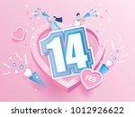 lovely joyful couple valentine... | Shutterstock .eps vector #1012926622