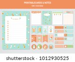 set of baby clothes and cute... | Shutterstock .eps vector #1012930525