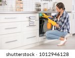 young woman cleaning oven in... | Shutterstock . vector #1012946128