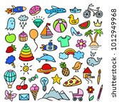hand drawn doodle illustrations.... | Shutterstock .eps vector #1012949968