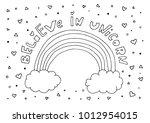 believe in unicorn text.... | Shutterstock .eps vector #1012954015