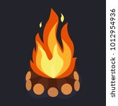 bonfire and burning woodpile ... | Shutterstock .eps vector #1012954936
