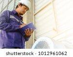 asian engineer or technician in ... | Shutterstock . vector #1012961062