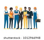 construction workers and... | Shutterstock .eps vector #1012966948