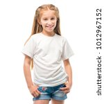 little girl in white t shirt... | Shutterstock . vector #1012967152
