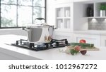 the new chrome pan on the... | Shutterstock . vector #1012967272