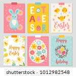 set of six easter cards with... | Shutterstock .eps vector #1012982548