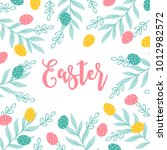 easter greeting card with eggs  ... | Shutterstock .eps vector #1012982572