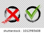 red x and green brush symbolic... | Shutterstock .eps vector #1012985608
