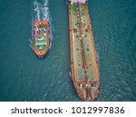 aerial view oil tanker sailing