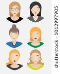 flat avatar woman character... | Shutterstock .eps vector #1012997905