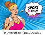 pop art sexy strong and... | Shutterstock .eps vector #1013001088