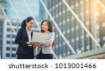 businessman working at laptop... | Shutterstock . vector #1013001466
