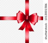 red bow and ribbon isolated on... | Shutterstock .eps vector #1013001586