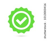 green stamp with tick icon in... | Shutterstock .eps vector #1013003416