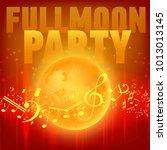 red moon beach party flyer. | Shutterstock .eps vector #1013013145
