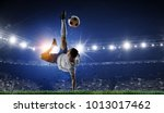 soccer player at stadium. mixed ... | Shutterstock . vector #1013017462