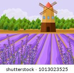 mill and lavender fields...   Shutterstock .eps vector #1013023525