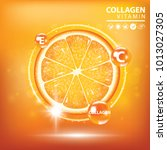 orange collagen vitamin droplet ... | Shutterstock .eps vector #1013027305