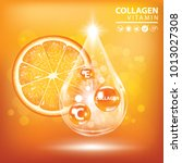 orange collagen vitamin droplet ... | Shutterstock .eps vector #1013027308