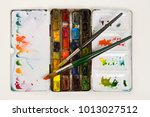 well used artists watercolour... | Shutterstock . vector #1013027512