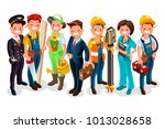 labor day. vector worker group... | Shutterstock .eps vector #1013028658