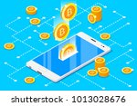 monetary business with bitcoin...   Shutterstock .eps vector #1013028676