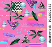 synth wave tropical seamless... | Shutterstock .eps vector #1013032882