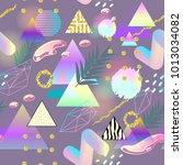 memphis style geometric... | Shutterstock .eps vector #1013034082
