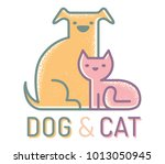 Stock vector vector flat logo with cat and dog vintage emblem with pets cat and dog 1013050945