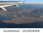 Small photo of View the Cote d'Azur, Var river, Alps mountains and Nice airport with flight altitude of the aircraft.