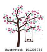 spring flower love tree. vector ...