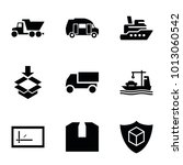shipping icons. set of 9... | Shutterstock .eps vector #1013060542