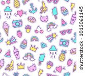 cute patches seamless pattern.... | Shutterstock .eps vector #1013061145