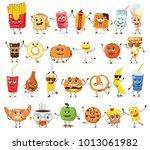 set of cartoon funny friends    ... | Shutterstock .eps vector #1013061982