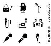 mic icons. set of 9 editable... | Shutterstock .eps vector #1013062078