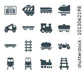 train icons. set of 16 editable ... | Shutterstock .eps vector #1013062198