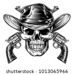 skull cowboy in western hat and ... | Shutterstock . vector #1013065966