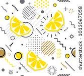 trendy seamless  memphis style... | Shutterstock .eps vector #1013067058