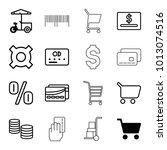 buy icons. set of 16 editable... | Shutterstock .eps vector #1013074516