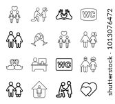 couple icons. set of 16... | Shutterstock .eps vector #1013076472